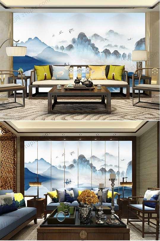 简约中国风蓝色山水背景墙-众图网