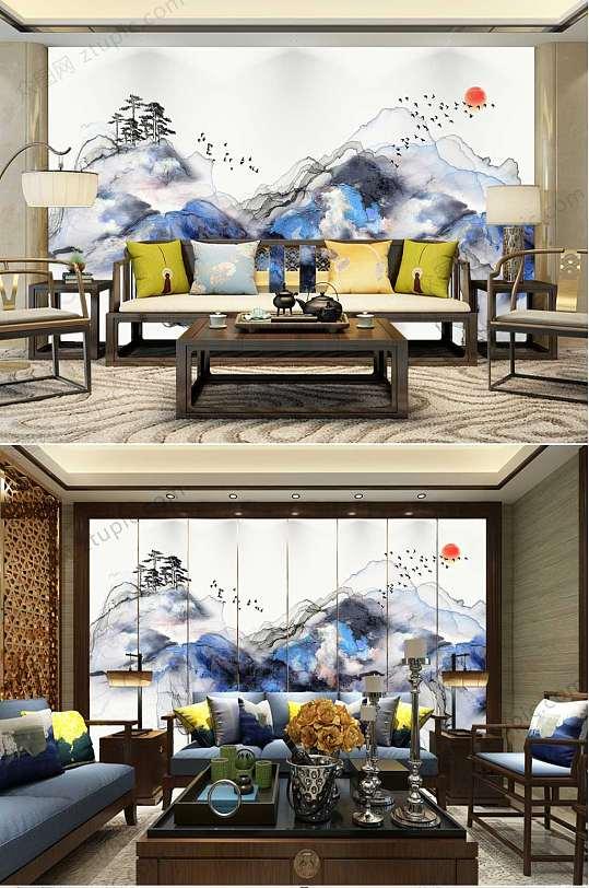 轻奢抽象山水背景墙-众图网