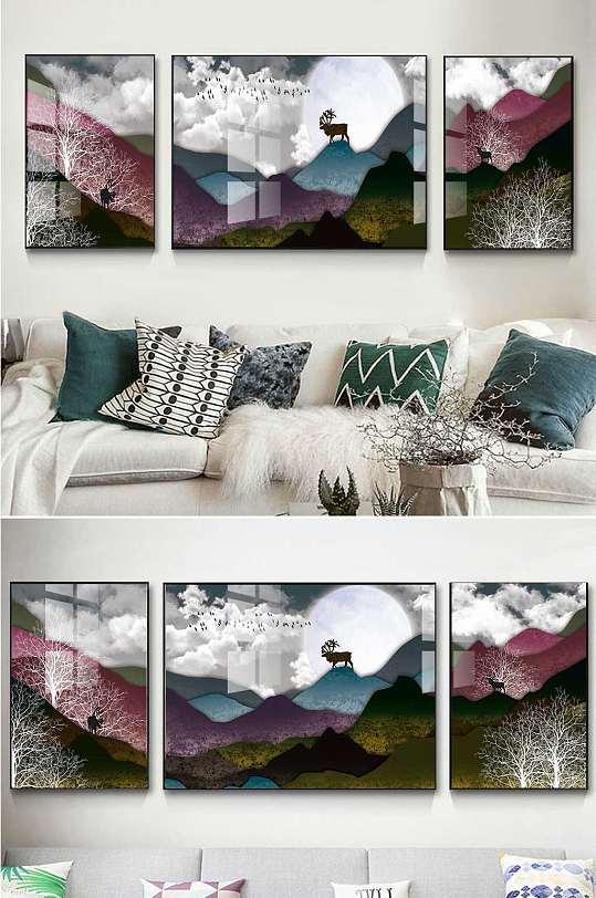 抽象山水麋鹿三联装饰画-众图网