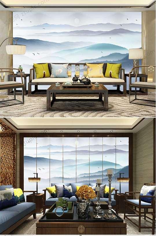 中国风山水背景墙-众图网