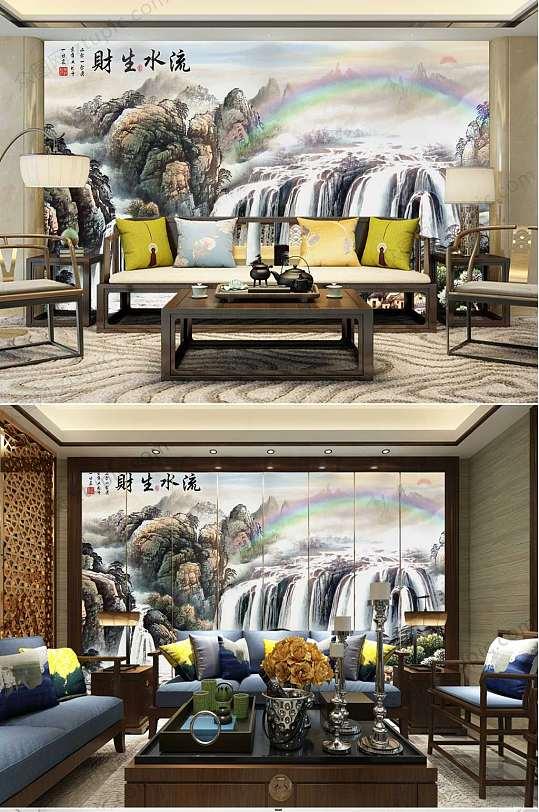 水墨中国风流水生财背景墙-众图网