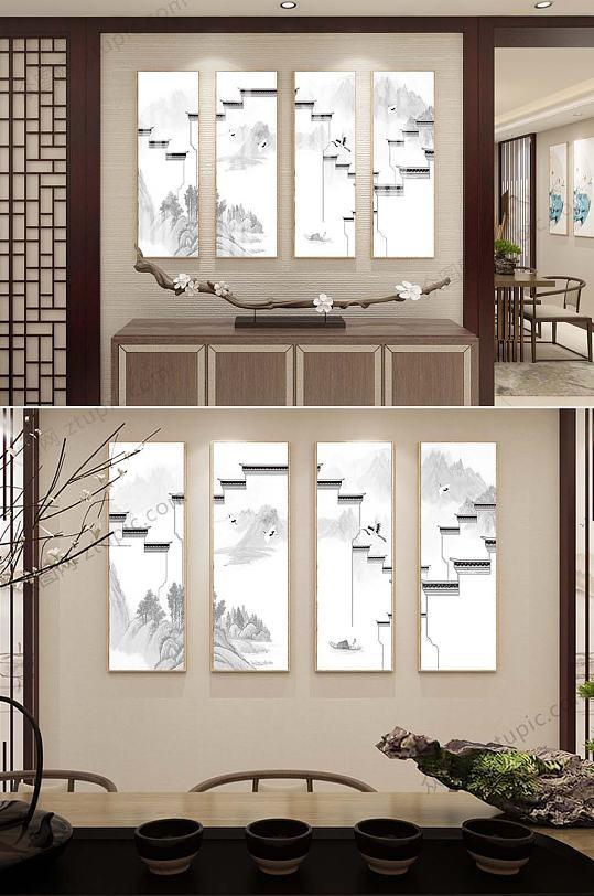 新中式四联装饰挂画-众图网