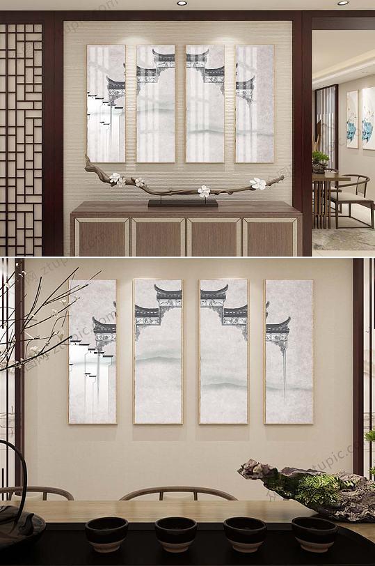 中式四联装饰挂画-众图网