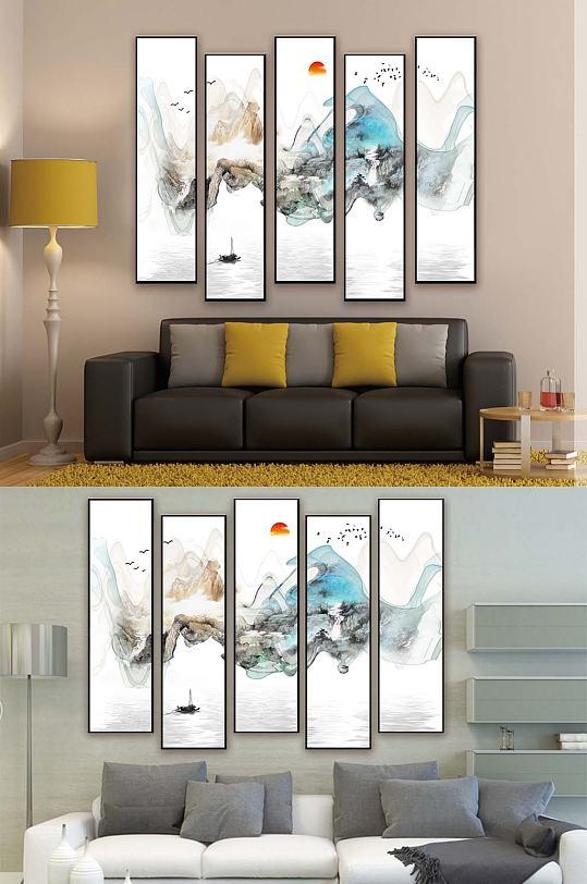 新中式五联装饰挂画-众图网