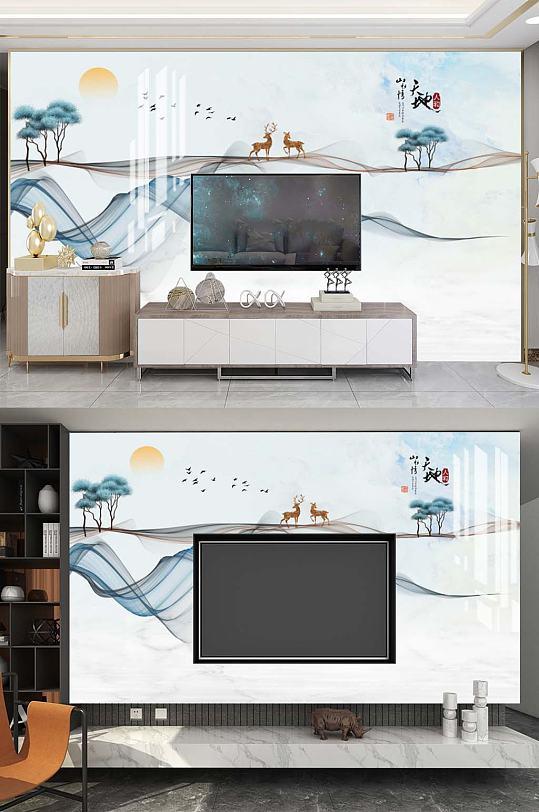 新中式电视背景墙-众图网