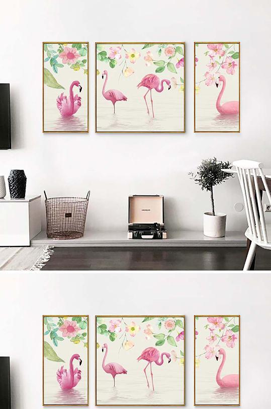 火烈鸟装饰画三联-众图网