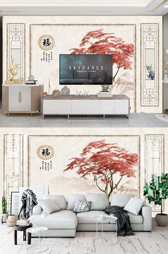 新中式背景墙手绘-众图网
