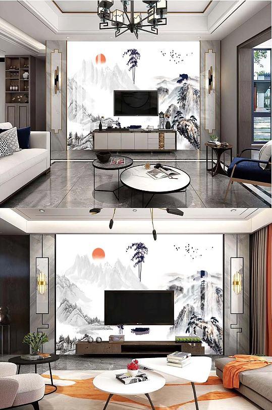 中式手绘山水电视背景-众图网