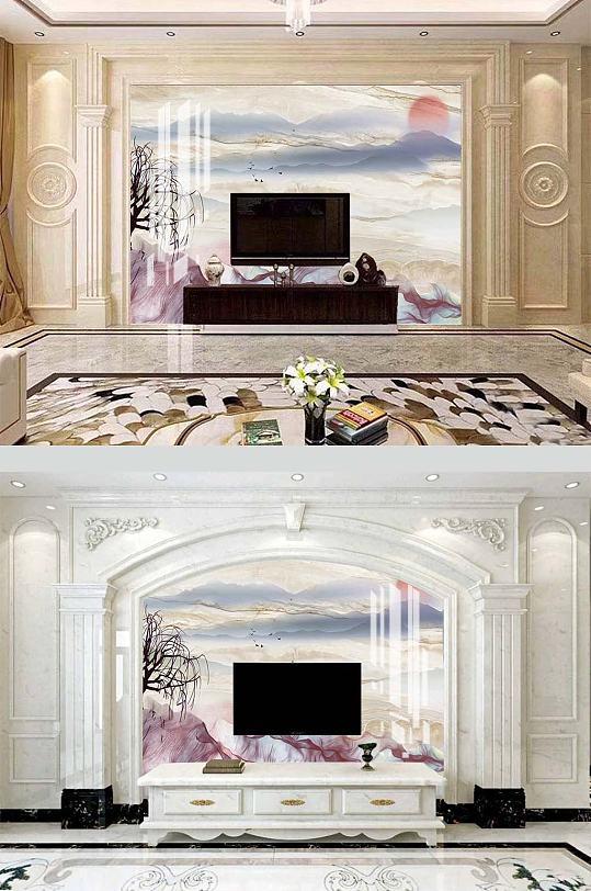 客厅水墨山水电视背景-众图网