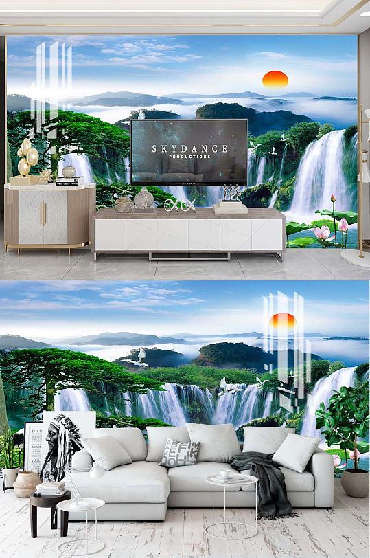 中式山水电视背景-众图网