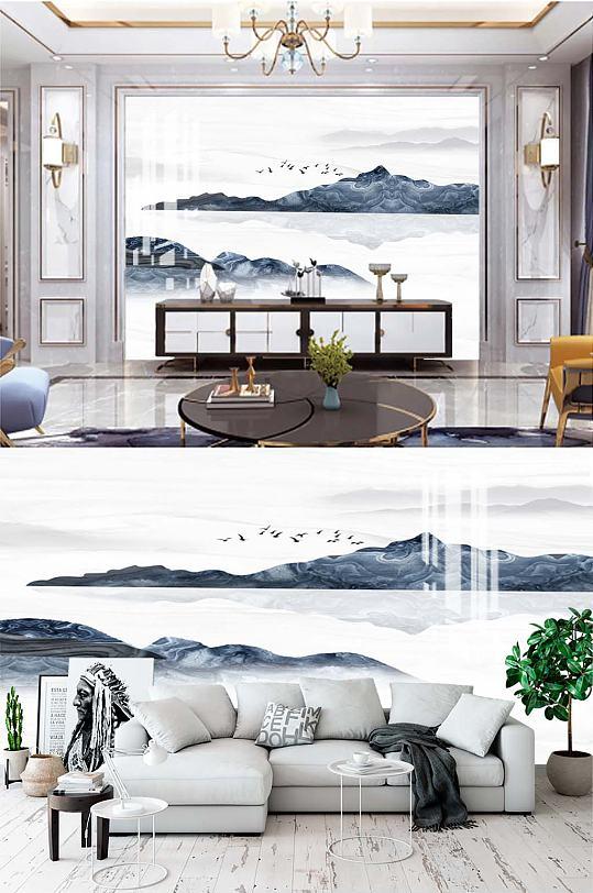 新中式山水电视背景-众图网