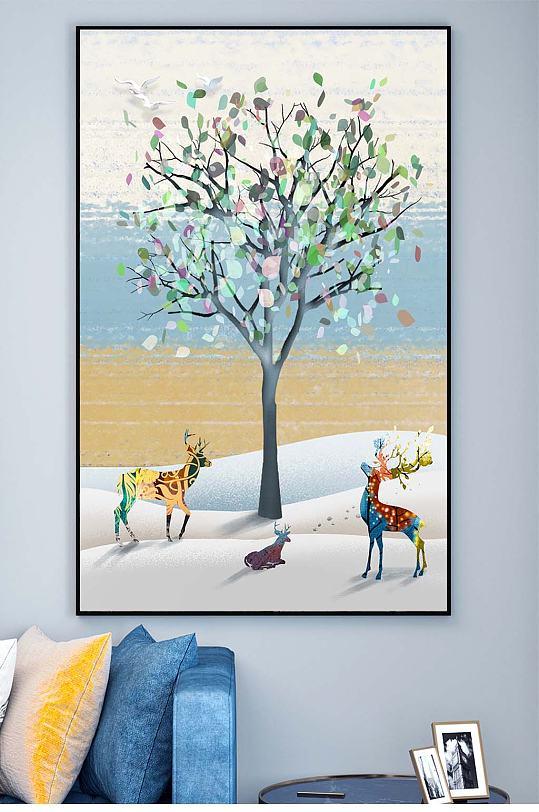 麋鹿玄关装饰画-众图网