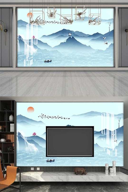 中式意境山水画背景墙-众图网
