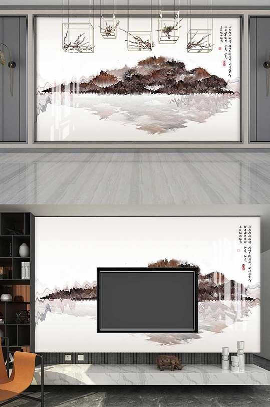 新中式水墨山水背景墙-众图网