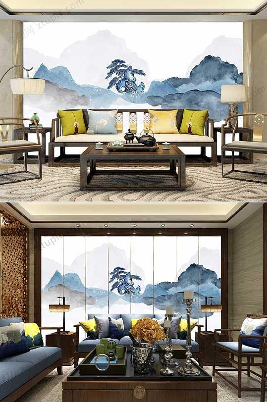 新中式抽象水墨山水背景墙-众图网