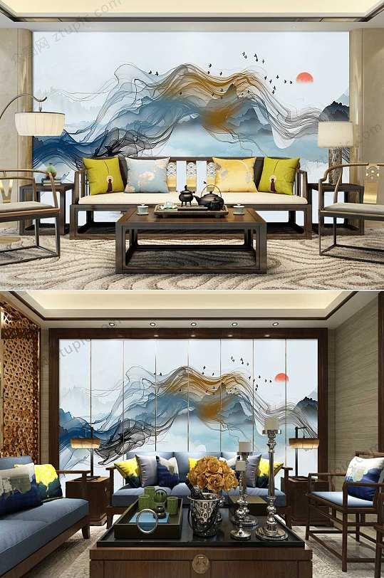 意境水墨中式装饰画背景墙-众图网