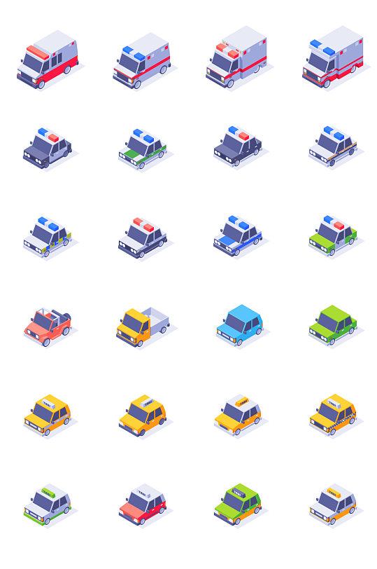 3D微立体汽车设计元素-众图网