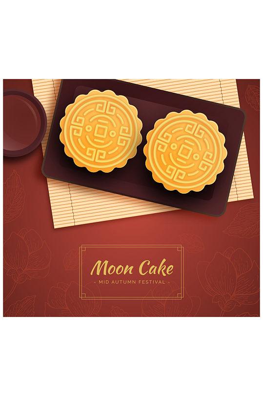 美味中秋节月饼俯视图矢量素材-众图网