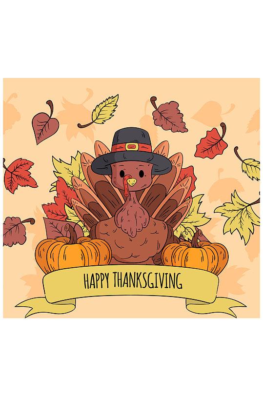 可爱感恩节火鸡和南瓜矢量素材-众图网
