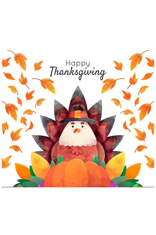 彩绘落叶中的感恩节火鸡矢量图元素 素材-众图网