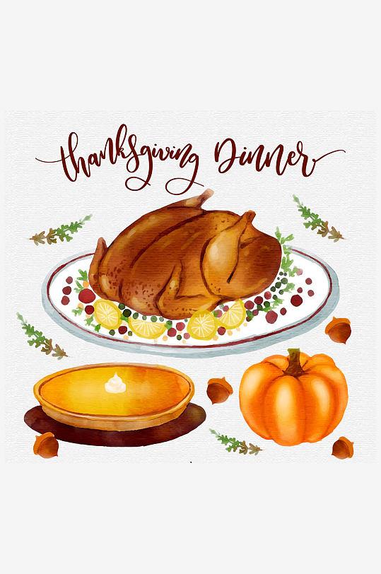 3款水彩绘感恩节食物矢量素材-众图网
