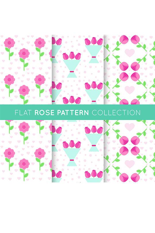 3款扁平化玫瑰花无缝背景矢量图-众图网