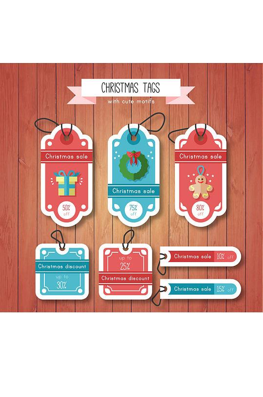 7款扁平化圣诞节促销吊牌矢量图-众图网
