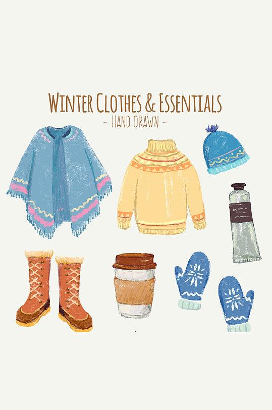 7款冬季时尚服饰和配饰矢量图-众图网