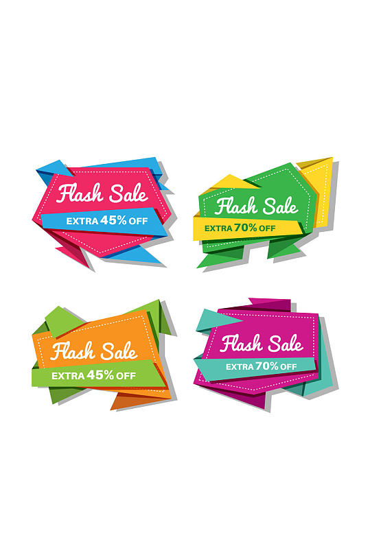 4款彩色纸质促销标签矢量素材-众图网