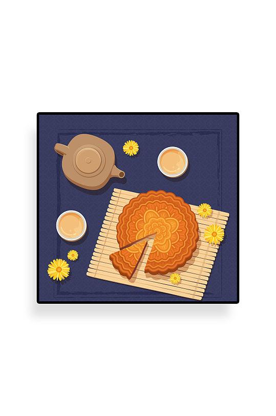 美味中秋节茶和切开的月饼矢量图-众图网