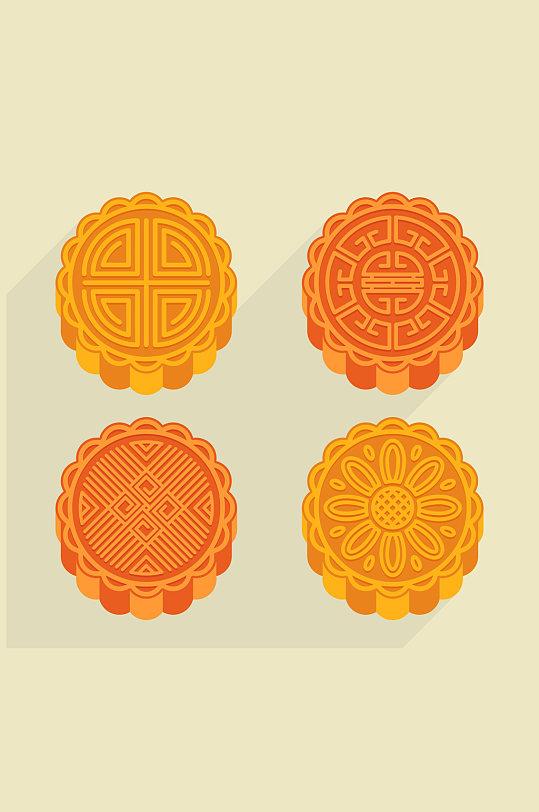 4款美味中秋节月饼矢量素材-众图网