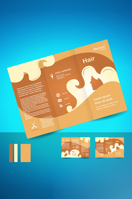 精品时尚三折页模板设计-众图网