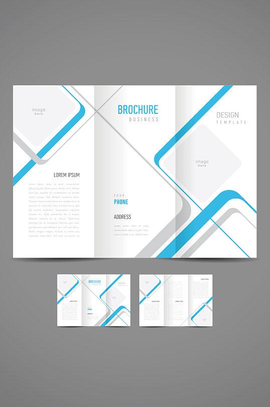 精品蓝白公司企业三折页模板设计-众图网