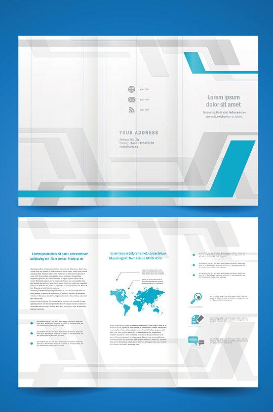 精品蓝白公司三折页设计-众图网