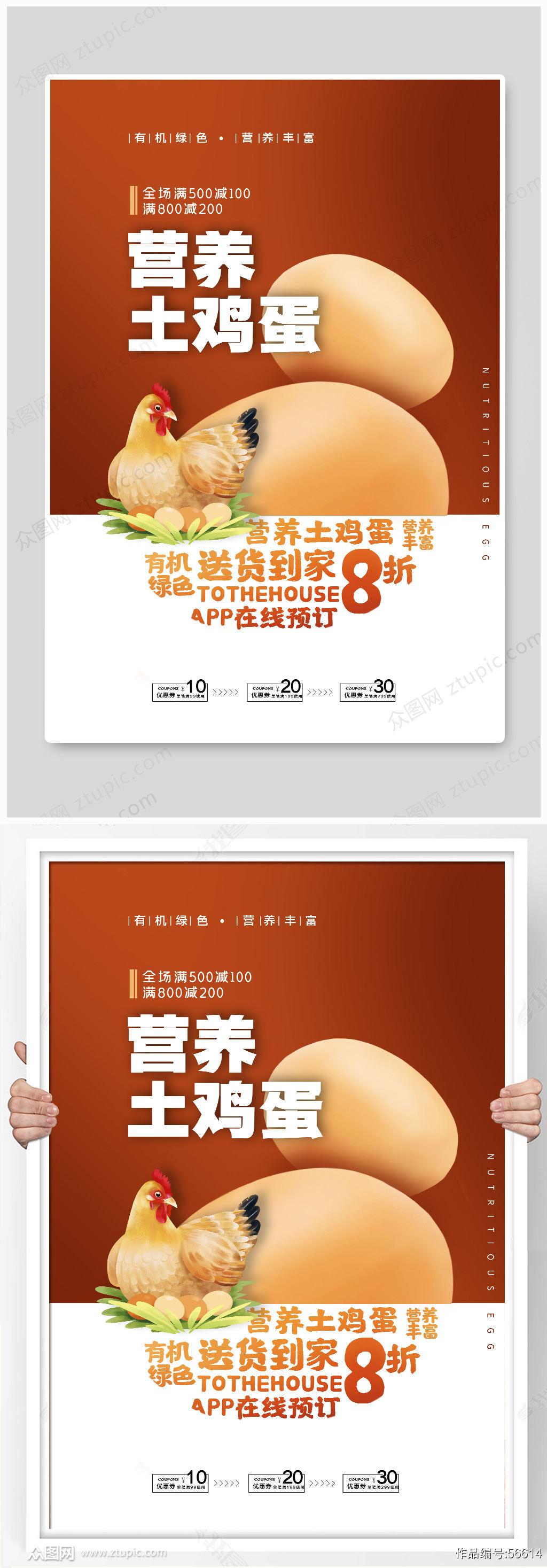 营养土鸡蛋海报素材