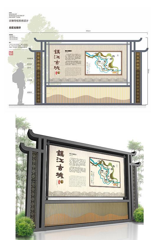 景区宣传栏古镇标识导视 地图指示牌 户外宣传栏告示栏
