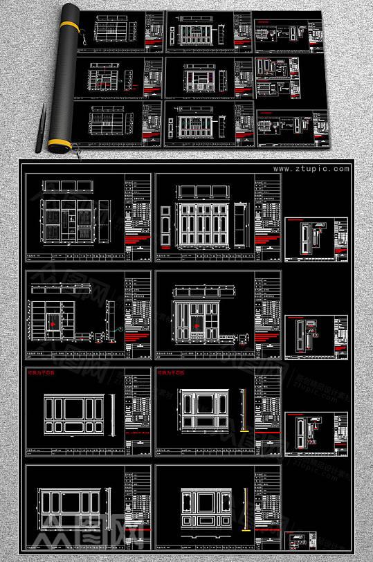 欧式酒柜衣柜电视柜墙板CAD图库-众图网