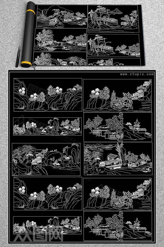 山水风景背景墙装饰画CAD图库-众图网