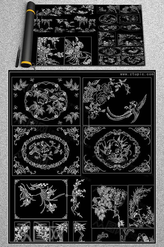 花鸟雕花雕刻装饰图案CAD图库-众图网