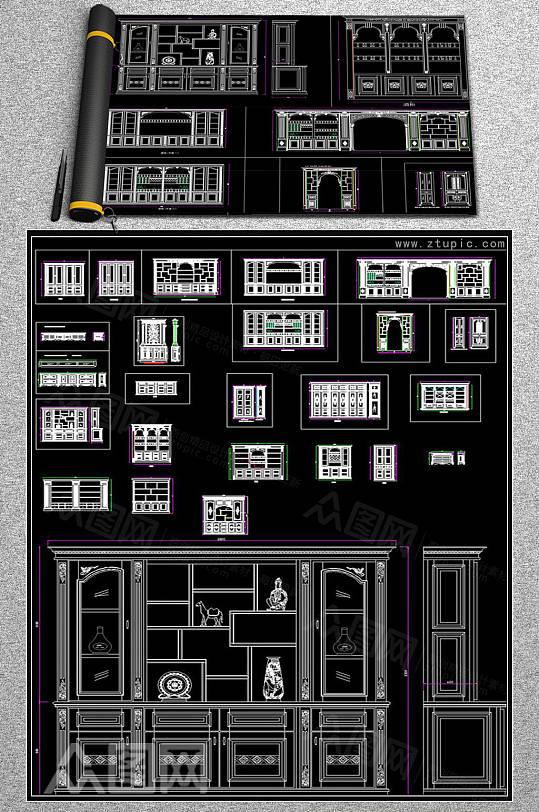 欧式酒柜衣柜鞋柜大样施工图CAD素材-众图网