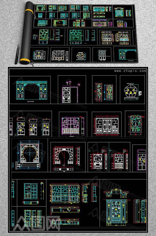整木博古架装饰柜设计CAD素材-众图网