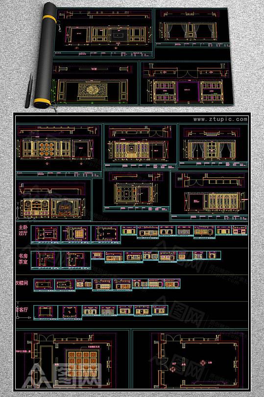 整木家装中式墙板柜子设计CAD素材-众图网