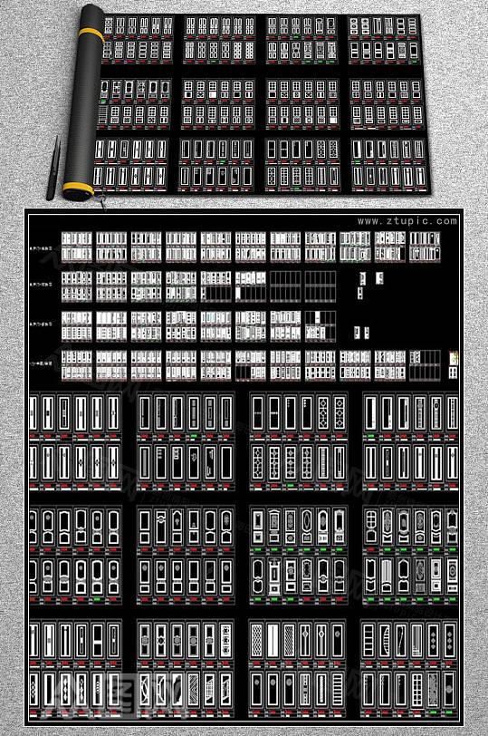 木门实木门CAD图库-众图网