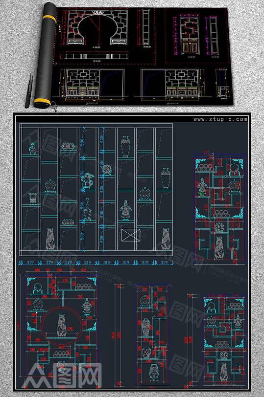 博古架装饰柜设计图纸CAD素材-众图网