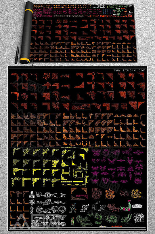 角花边框雕刻花纹图案雕花CAD素材图库-众图网