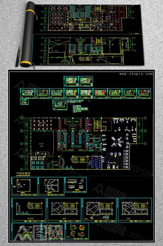 健身房全套CAD施工图-众图网