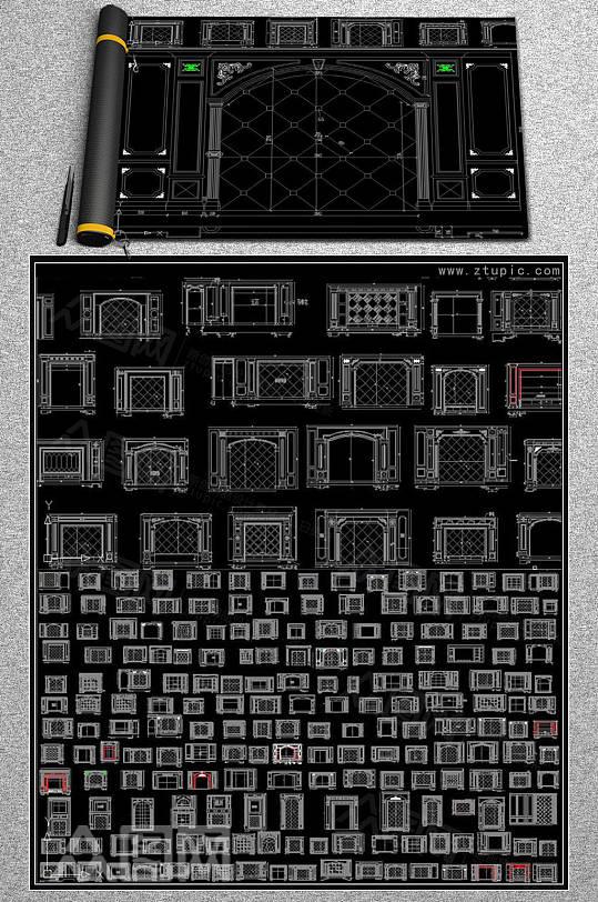 大理石电视机背景墙CAD素材-众图网
