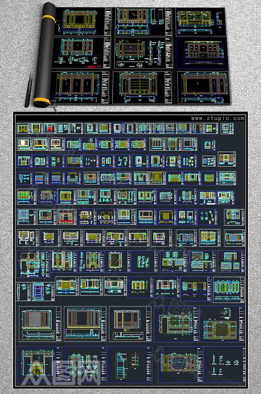 整木定制护墙板背景墙CAD图库-众图网