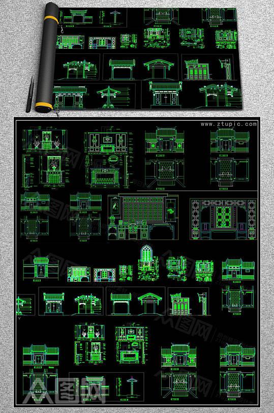 中式门头雕花屏风隔断牌楼花格CAD素材-众图网