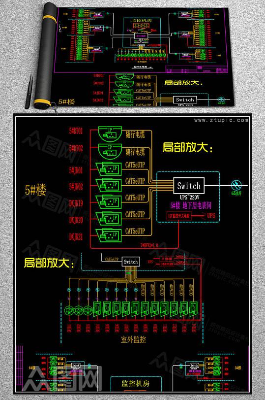 网络监控系统图模板弱电智能化CAD素材-众图网